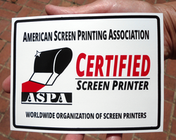 ASPA Certified Screen Printer window decal
